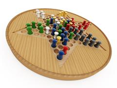 Chinese checkers board and pawns isolated on white background. 3D illustration Stock Illustration
