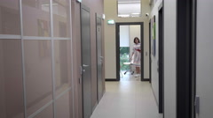 people in the hallway Beauty Clinic - stock footage