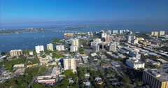 Aerial of Buildings On The Coast In Sarasota's Historic District Downtown Stock Footage
