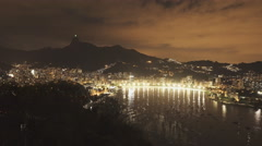 Night view of botafogo and corcovado from sugarloaf mountain in rio Stock Footage