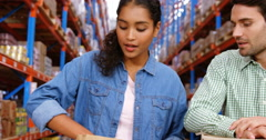 Warehouse worker doing a charitable work Stock Footage