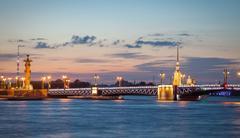 Palace bridge, Peter and Paul Cathedral at night. Saint Petersburg - stock photo