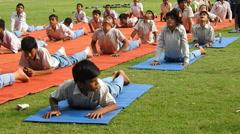 Children doing yoga Stock Footage