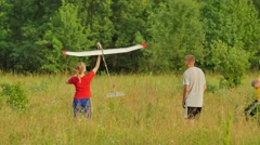 Launch Failure People at Aircraft Model Sports Competition Outdoors Konotop Stock Footage