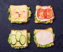Preparation clubsandwiches  on a stone - stock photo