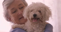 Smiling senior woman holding a dog Stock Footage