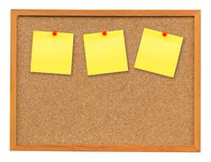 Three note paper on Cork board isolated on white with clipping path. Stock Photos