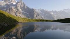 Mountain landscape at Checrouit Lake in Courmayeur, Valle D'Aosta Stock Footage
