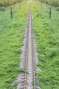 Railway top view with green plant Stock Photos