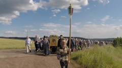 The procession with the icon of the Mother of God Tabynsk Stock Footage