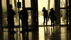 Commuters silhouette at HSR station looks like airport architecture Stock Footage