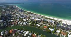 Aerial of Lido Key Buildings & Beach in Sarasota Florida Stock Footage