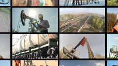 Oil industry. Montage split screen. Oil rockers Pump, engineers Stock Footage
