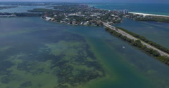 Aerial of Lido Key Island in Sarasota Florida Stock Footage