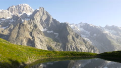 Mountain landscape at Checrouit Lake in Courmayeur, Valle D'Aosta Stock Footage
