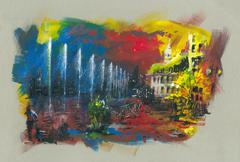 City by the lake acrylic painting Stock Illustration