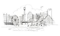 New Jersey's beach, New York skyline illustration Piirros