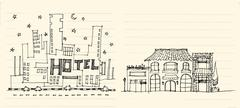 architecture elevation of hotels street, shops, restaurant and apartment illu - stock illustration