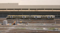 Tiltshift effect applied to Toronto UP or Union Pearson express train. Stock Footage