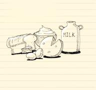 Dairy products with bread hand doodle illustration - stock illustration