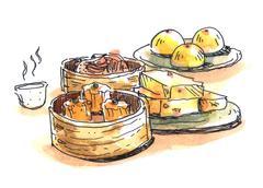 Chinese food, dim sum illustration - stock illustration