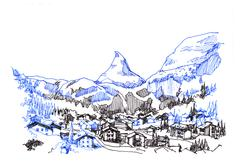 matterhorn zermatt green city hand drawing sketch illustration - stock illustration