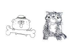 Cat and dog illustration Stock Illustration
