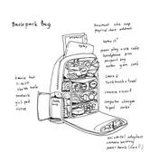 backpack items and stuffs to carry for trip illustration - stock illustration