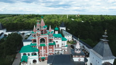 Orthodox Christian monastery.Aerial view Stock Footage