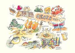 Osaka Japan drawing illustration of landmark and must do items Piirros