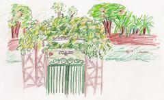garden green gate - stock illustration