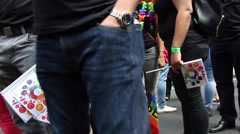 People waiting for a gay parade in London. - stock footage