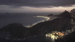 Night time shot of copacabana beach from sugarloaf mountain in rio Stock Footage