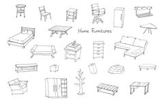 variety of modern home furnitures hand drawing illustration - stock illustration