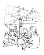 People passenger waiting at train station illustration Stock Illustration