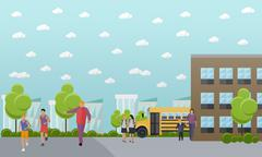 School concept vector banner. College yard, building and bus - stock illustration