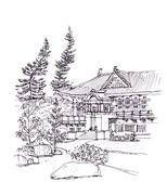 Japanese style building pen drawing illustration Piirros