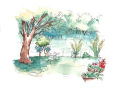 green garden water colour illustration - stock illustration
