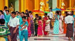 Poy Sang Long ceremony at Shwedagon pagoda Stock Footage