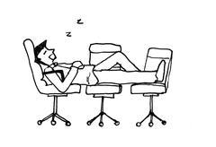 Sleep at work illustration Piirros