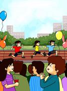 Family cheering at school sport day Stock Illustration