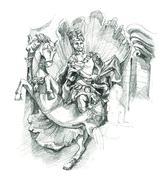 Cambodia art statue sketch Stock Illustration