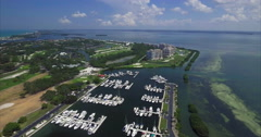 Aerial of Lido Key Docked boats in Sarasota Florida Stock Footage