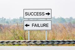 Road sign boards with success and failure text Stock Photos