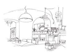 Cozy small cafe interior hand drawing illustration Stock Illustration