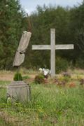 Cemetery and church ruins in former soviet military camp, Zvarde Stock Photos