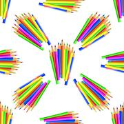 Colorful Pencils Seamless Pattern - stock illustration