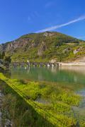 Old Bridge on Drina river in Visegrad - Bosnia and Herzegovina - stock photo