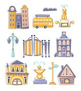 City Buildings And Other Elements Creative Design Set Stock Illustration