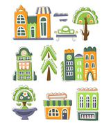 City Buildings And Other Elements Creative Design Collection - stock illustration